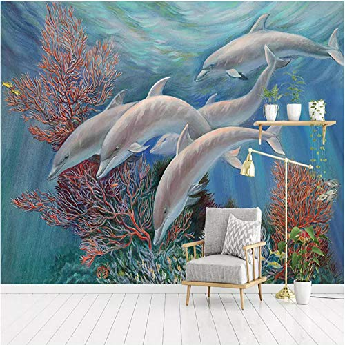 Wuyii aangepaste 3D zijdebehang kind fotobehang rol zee cartoon dolfijn wooncultuur voor kinderkamer slaapkamer behang voor 3D 280 x 200 cm.