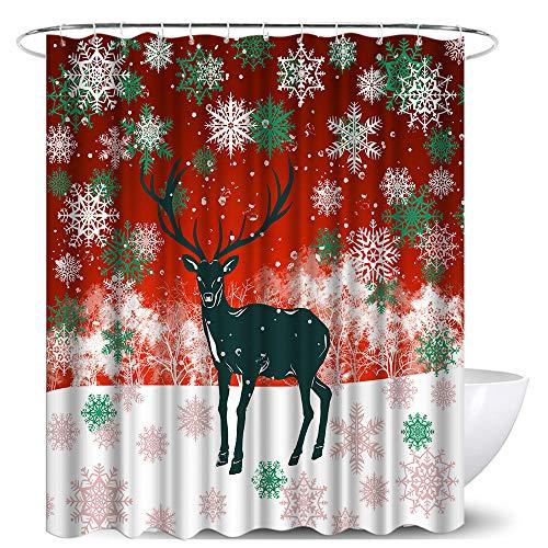 LoveHouse Elch Duschvorhang Winterthema Hirsch mit Schneeflocke Tiere Badvorhänge wasserdichter Stoff rot grün Weihnachten Badezimmer Dekoration Set mit 12 Haken 182,9 x 182,9 cm