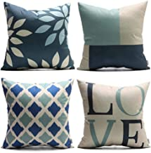 DANLIA 18 x 18 Inch Set of 4 Throw Pillow Cases, Argyle Love Navy Blue Light Blue Cream Decorative Soft Square Geometric Style Cushion Cover for Sofa Couch Farmhouse