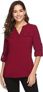 4c1902dca07c7d Aibrou Chemisier Femme Chic Col V en Mousseline Blouse Manches Longues  Tunique Chemise Shirt Casual Mode