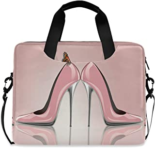 Ombra Laptop Shoulder Bag Pink High Heel Butterfly Portable Laptop Sleeve Case with Strap for 14/15.6/16in Notebook Comput...