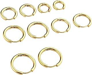 Set di 5 Paia 1.0mm Orecchini Unisex in Acciaio Inossidabile, Anelli per Orecchio, Piercing a Cerchio Diametro 8/10/12/14/...