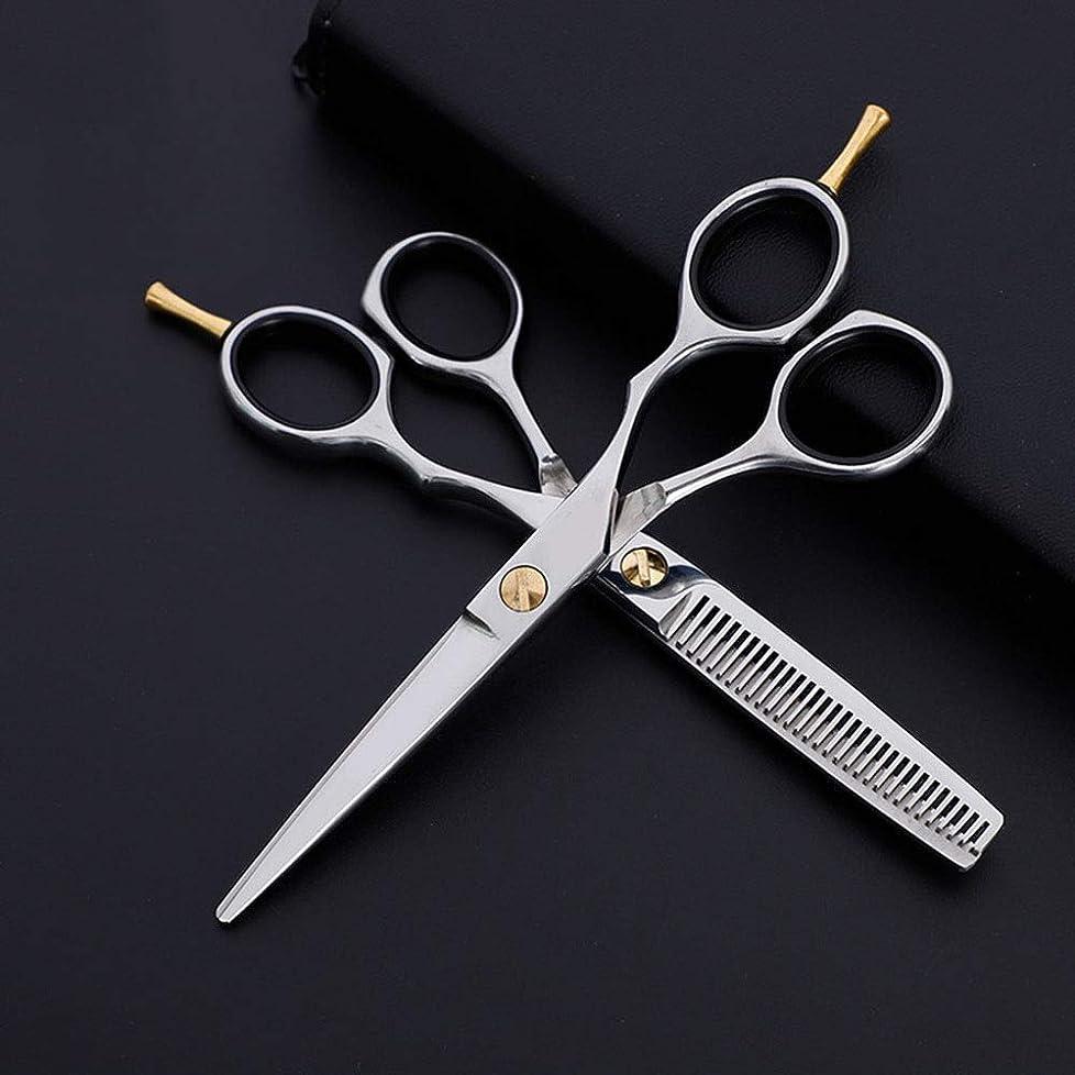 きらめき航空便画面Xiongdeisix 6インチ美容院プロフェッショナル理髪セット、フラット+歯はさみクラシック斜めハンドル理髪はさみ指残り (色 : Silver)