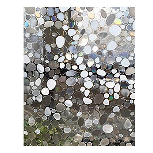 Beauneo - Película de vidrio 3D solar electrostática, anticalor y película UV opaca, película estática opaca, cristal para cuarto de baño, dormitorio, cocina, 45 x 200 cm (3#)