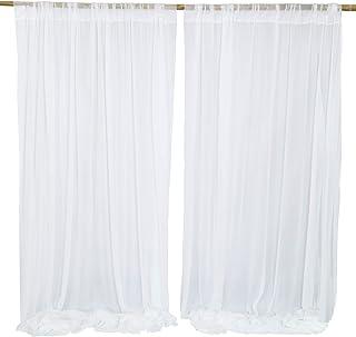 White Voile With Butterflies Fabric Dress Net Transparent Organza Backdrop Drape