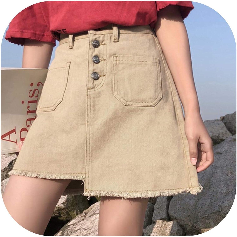VickyDress Irregular Spring Summer Women Denim Skirt Fashionable High Waist Short Ladies Skirt Solid color Korean Style