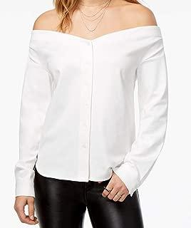 kensie Womens Pinstripe Off-Shoulder Button-Up Blouse