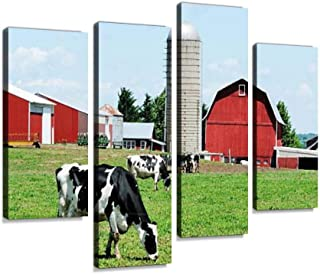 Grazing Holsteins Canvas Print Artwork Wall Art Pictures Framed Digital Print Abstract Painting Room Home Office Decor Rea...