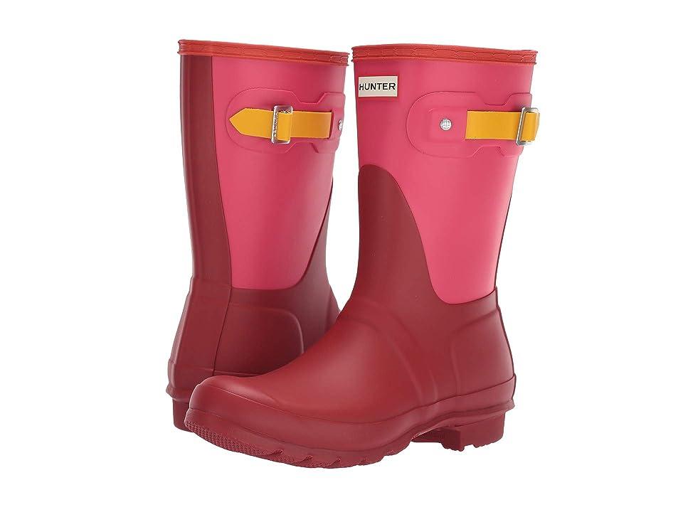 Hunter Original Short Color Block Rain Boot (Military Red Colour Block) Women