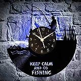 KingLive Pesca Pescatore Orologio da Parete in Vinile Decorazioni per la casa uniche - Regalo di Anniversario di Compleanno Fatto a Mano per Uomo e Donna (LED)