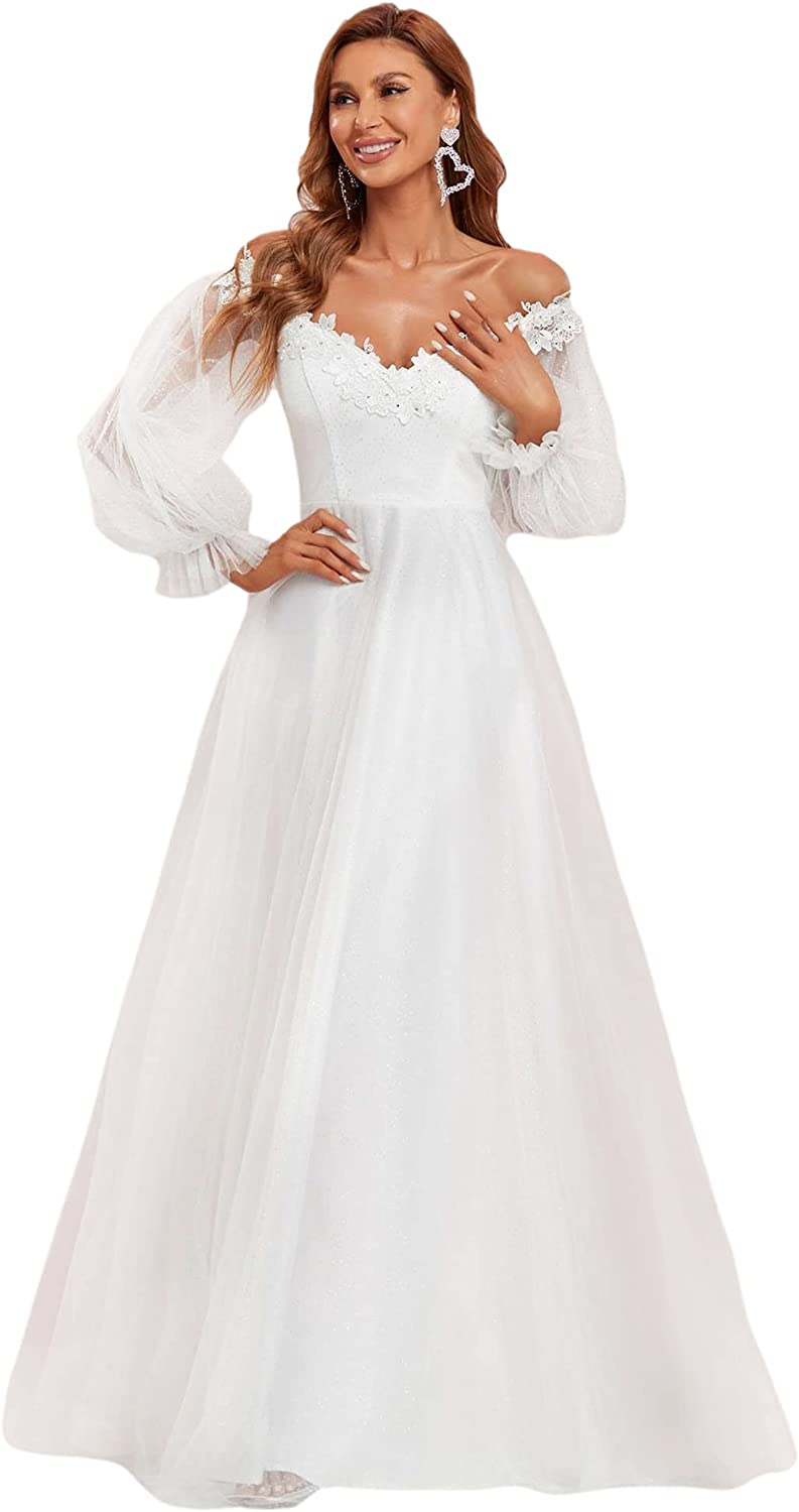 Ever-Pretty Women's A Line V Neck Floor-Length Off Shoulder Long Sleeves Puffy Tulle Wedding Dress for Bride 90326