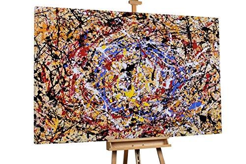 Kunstloft® Extraordinario Cuadro al óleo 'Thousand Miles' 180x120cm | Original Pintura XXL Pintado a Mano sobre Lienzo | Abstracto Líneas Manchas Pintura Naranja Multicolor | Mural de Arte Moderno
