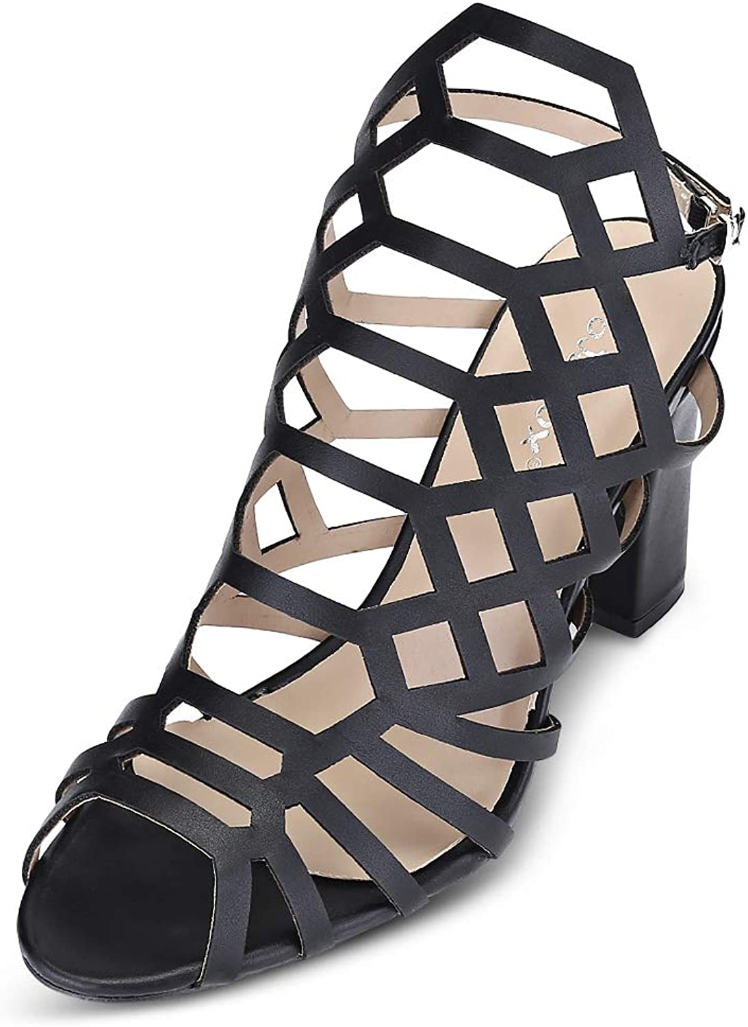 KCatsy Trendy Peep-Toe Hollow Out Chunky Heel Buckle Women Sandals