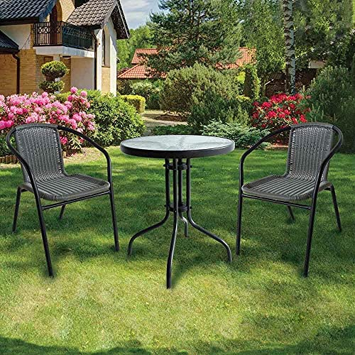 Lewis's Milano Rattan 3 Piece Bistro Garden Furniture Set | Black Or Grey Outdoor Patio Chairs And Steel Table For Al-Fresco Dining, BBQ's (Grey)