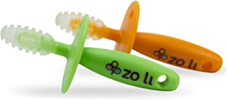 ZoLi Chubby Gummy Teether for Babies and Toddlers | 2-Pack, Green and Orange, BPA & Phthalate Free
