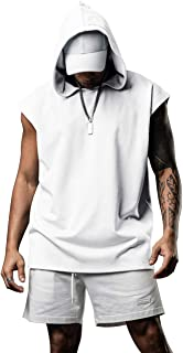 poriff Men`s Workout Hooded Tank Tops Bodybuilding Muscle Shirts Sleeveless Gym Hoodies