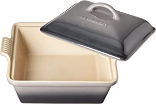 Le Creuset PG08053A-267F Heritage Stoneware Covered Square Casserole, 2-1/2-Quart,  Oyster