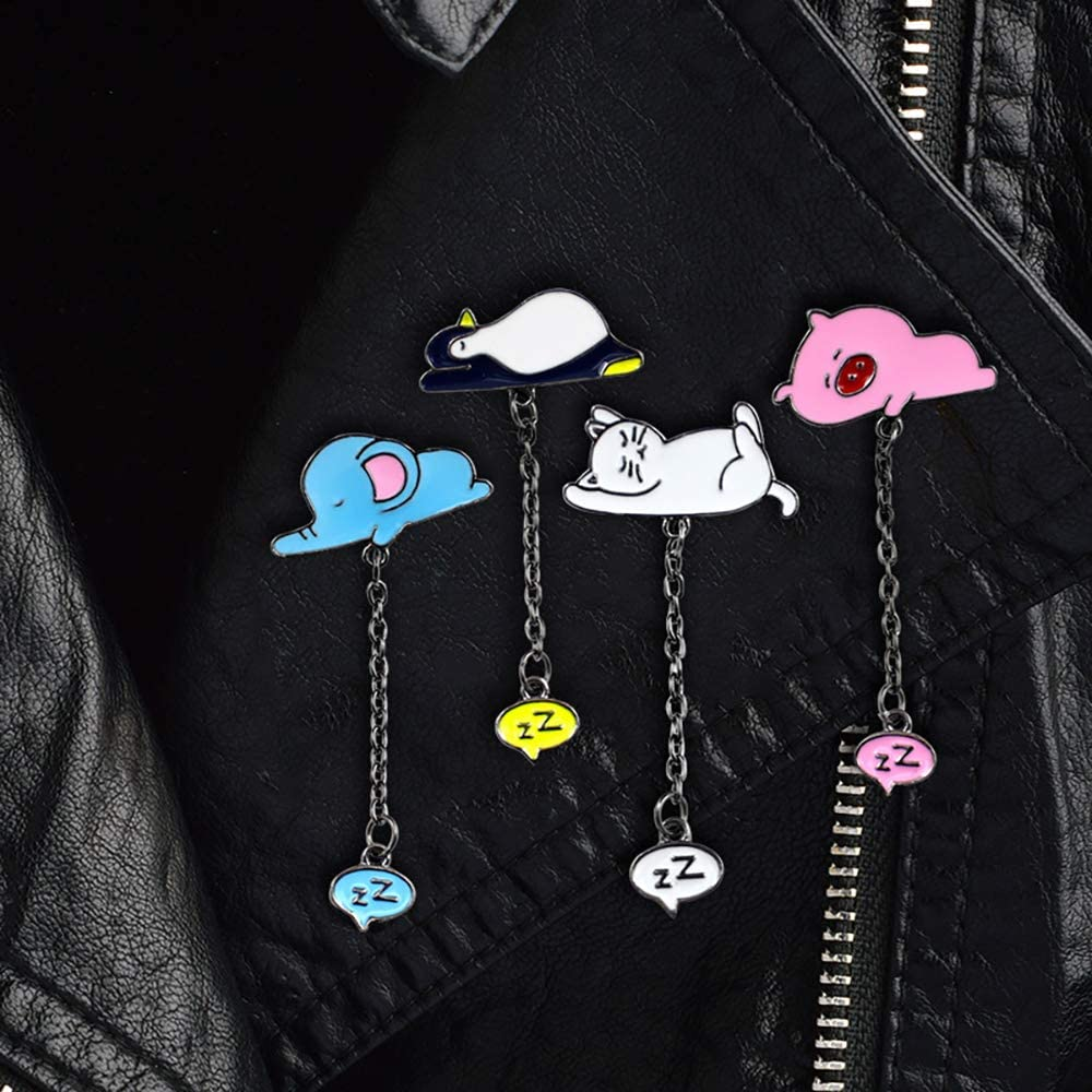CAROMAY 4 PC Cat Brooches Funny Sleeping Pig Elephant Animal Cartoon Enamel Lapel Pins with Chain Son Daughter Friend Birthday Gift
