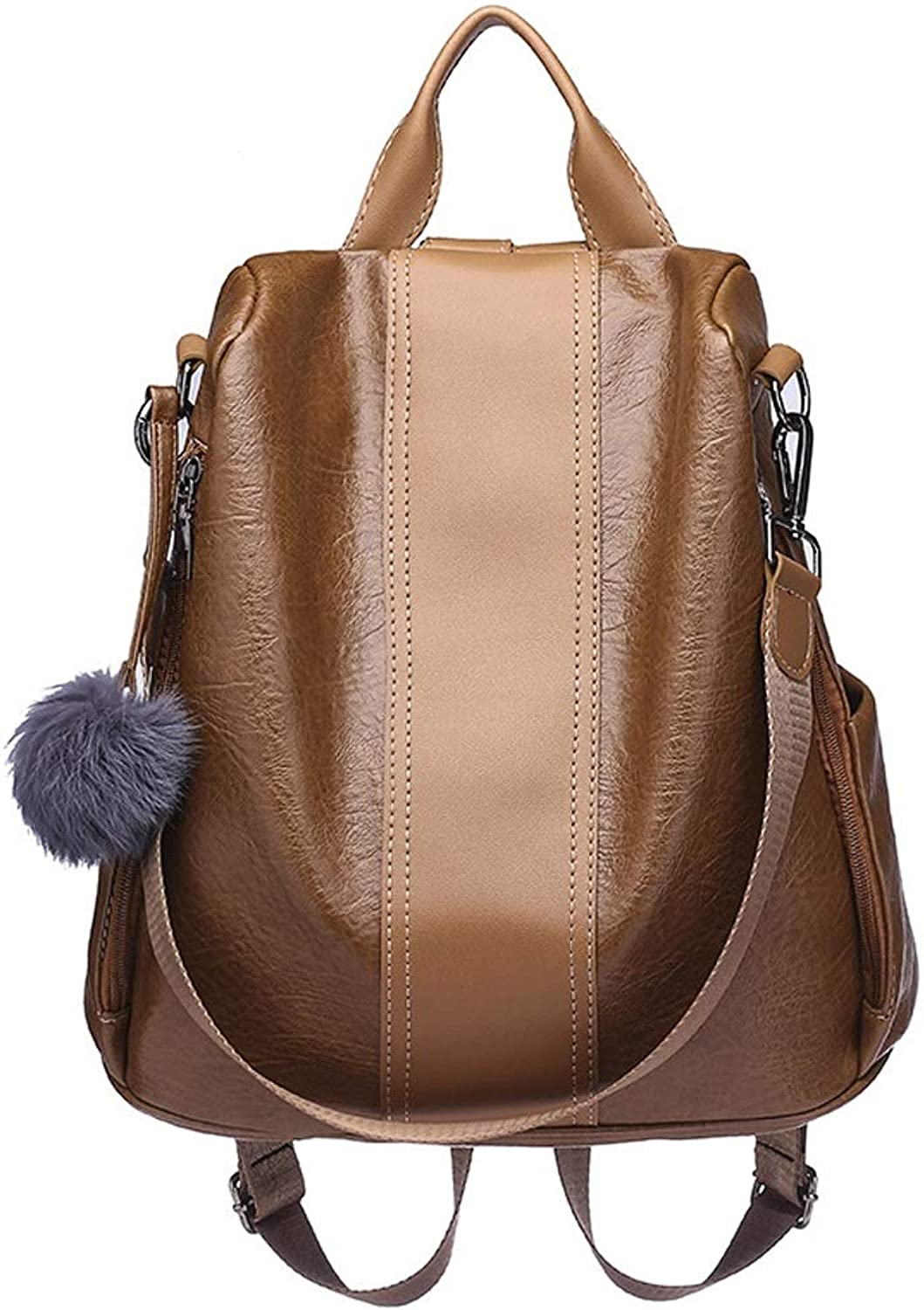 BAOBAOG Backpack Lady AntiTheft Bag Fashion Pu Waterproof Backpack Large Capacity Female Student Casual Bag (color   Brown, Size   OneSize)
