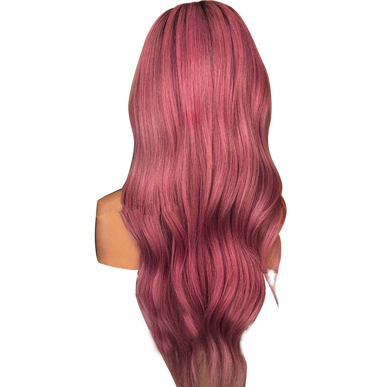 瞳ふさわしい物質Koloeplf 女性 ふわふわ 現実的な かつら 複数の色 大きな波 長いウィッグ 耐熱 ウィッグ 長さ65cm (Color : Black gradient citron purple)