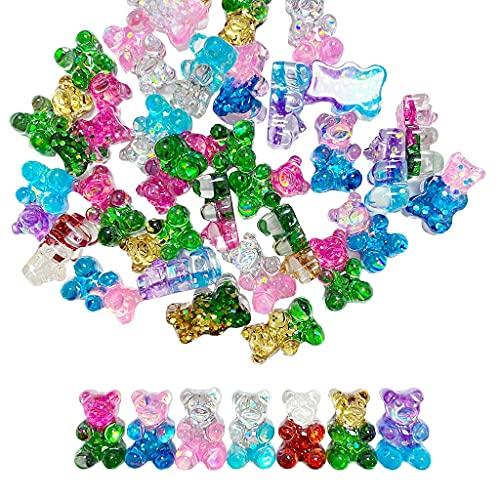 Daimay 40 unidades de ositos de goma de resina con colgantes de colores, llaveros, pulseras resina, para fabricación de joyas, pendientes – Gradient de colores mezclados brillantes estilo 2