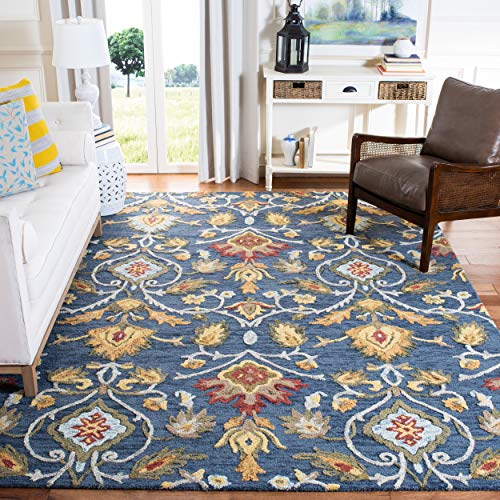 Safavieh Blossom Collection BLM402A Handmade Navy and Multi Premium Wool Area Rug (10' x 14')
