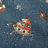 Stoff Meterware Baumwolle blau Rakete UFO Kinderstoff All