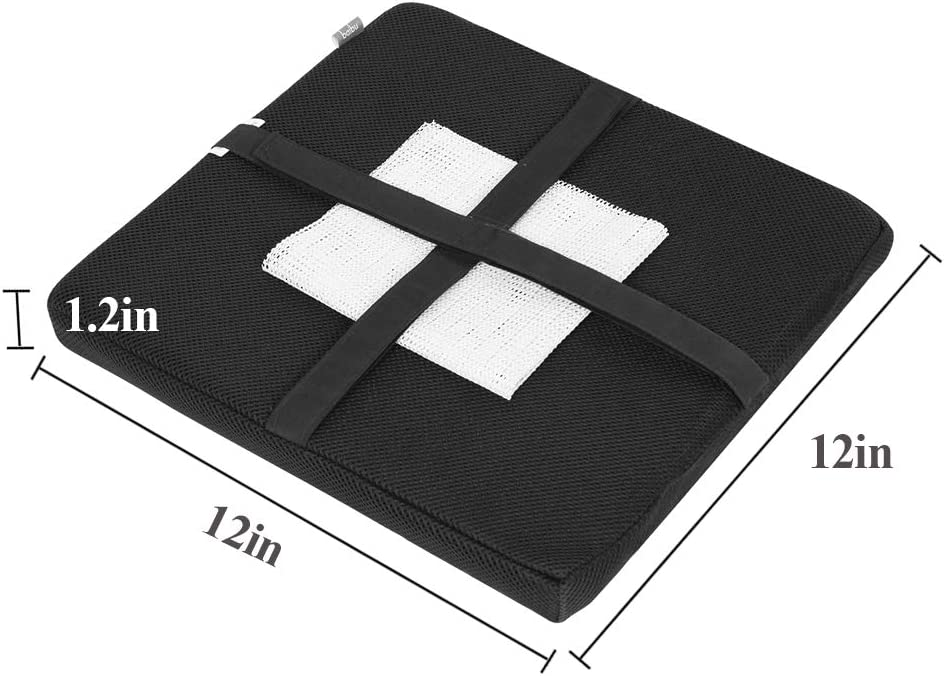 "baibu Set of 2 Square Seat Cushion 2Pack Gray-Black, 12/"" 30cm Super Soft Bar Stool Square Seat Cushion with Ties"