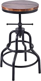 Topower American Antique Industrial Design Metal Adjustable Height Bar Stool Chair Kitchen Dining Breakfast Chair Natural Pinewood Industrial Style Black