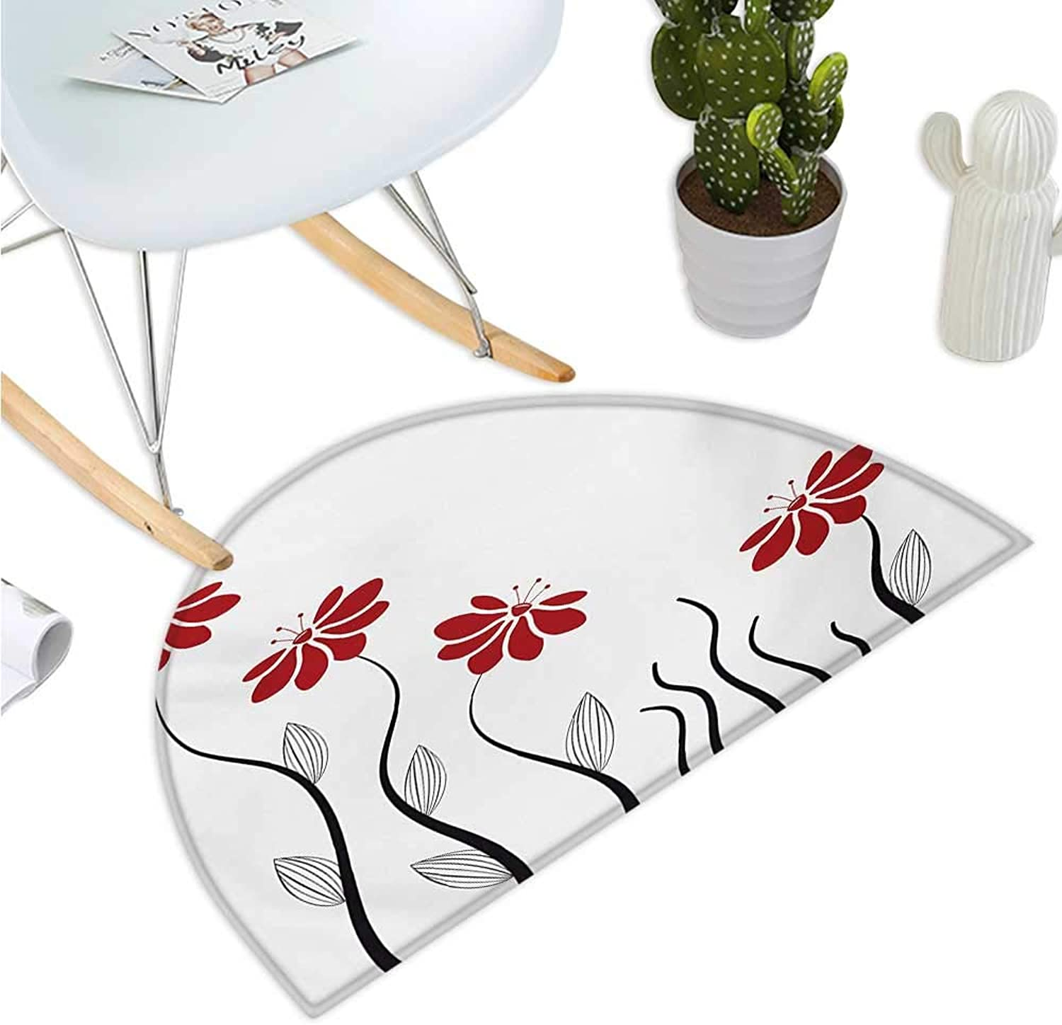 Flower Semicircle Doormat Floral Petals with Striped Leaves and Lines Modern Style Geometrical Design Print Entry Door Mat H 35.4  xD 53.1  Red and Black