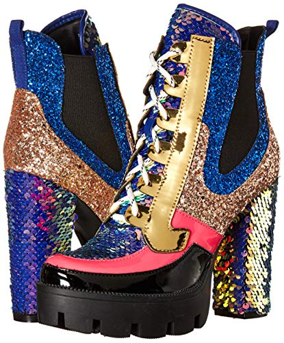 Cape Robbin Nell Gold Glitter Platform Chelsea Ankle Boots with Chunky Block Heels for Women Featuring a Sequined Tongue and Heel