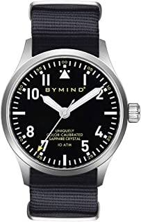 Men's Stainless Steel Quartz Watch with Sapphire 100 Meters Water Resistant (Black Night Nylon NATO Strap)