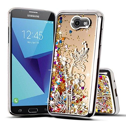 for Samsung Galaxy J7 2017 /Sky Pro/ J7 Prime/ J7V/ J727/ Perx/Halo Cute Liquid Glitter Flowing Sparkle Hearts Floral Shockproof Protective TPU Case [Free Emoji Keychain!] (Silver)