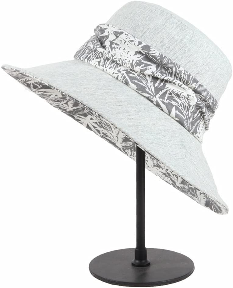 Hat Spring and Summer Beret Ladies Folding Recreational Travel Sun Hat Accessories (Color : Gray)