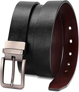Reversible Leather Belts for Women with Rotated Metal Buckle 1.1in Black/Brown Women Narrow Jeans Belt Christmas Gift Box