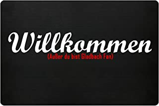 PlimPlom Fußmatte Anti Gladbach in schwarz - Lustige Fußball Schmutzfangmatte mit Statement für Dein Zuhause aus Polypropylen mit Rutschfester Unterseite