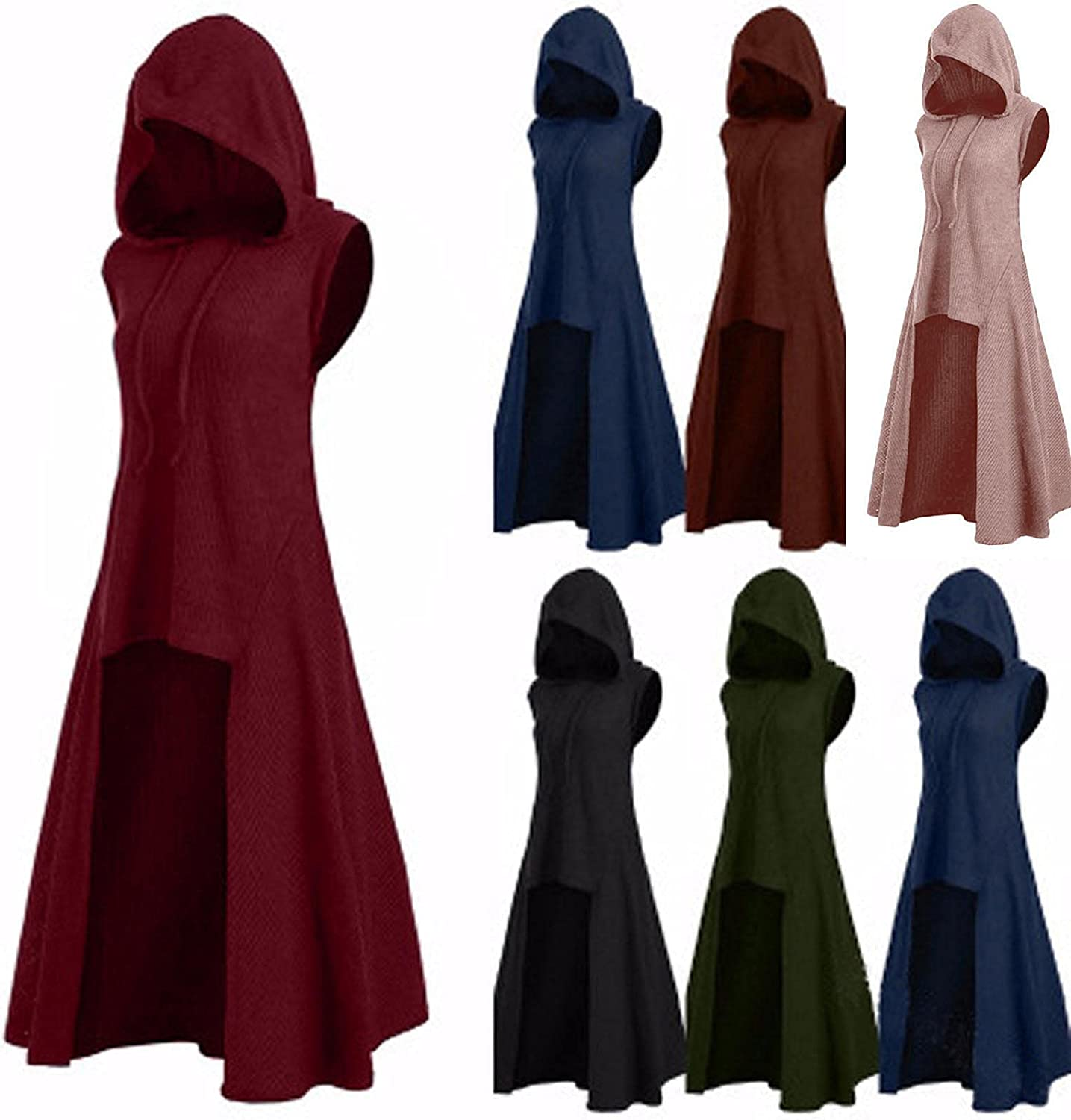 TARIENDY Vintage Dress Sweater for Women Hooded Sleeveless Blouse Solid Color Flowy Tunic Tops High Low Vest Pullover
