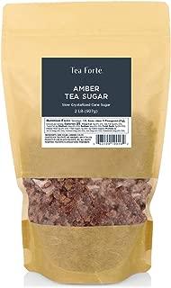 Tea Forte Amber Rock Sugar for Tea and Coffee, Pure Cane Sugar Crystals, 2 Pound Bag