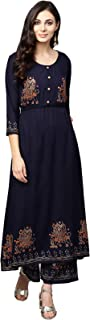 Ishin Women Navy Blue Viscose Rayon Printed Palazzo Kurta Set