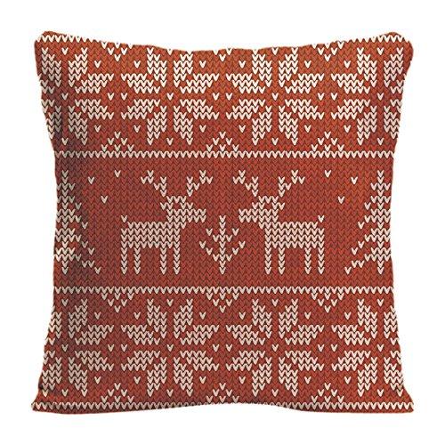 ldj algodón poliéster sofá silla cuadrado manta funda de almohada Funda de cojín (funda de almohada diseño con rojo de punto jersey con ciervo Navidad personalizadas personalizado funda de almohada tamaño 18x 18pulgadas