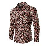 Camisa de Hombre Personalidad Moda Delgada Estilo étnico impresión Solapa Manga Larga Camisa de Fondo de Gran tamaño XX-Large
