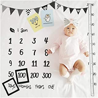 Baby Milestone Blanket Boy&Girl, Baby Monthly Milestone Blanket,Neutral Newborn Soft Photography Backdrop,Baby & Mommy Mil...