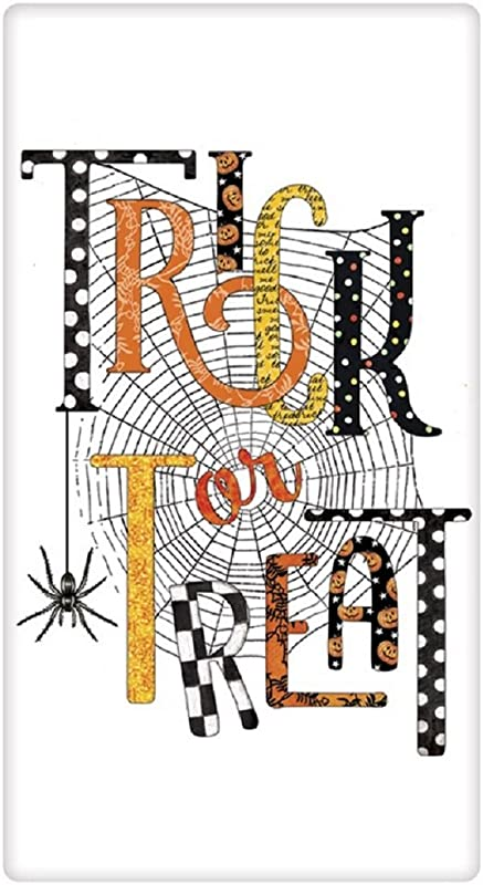 Mary Lake Thompson TRICK OR TREAT Spider Web HALLOWEEN Flour Sack Towel