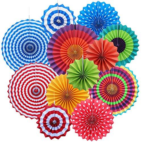Yotako 12 abanicos de papel de seda multicolor para decoración de bodas, fiestas de...