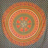 MOMOMUS Wandteppich Mandala -Ethnisch-100% Baumwolle, Groß, Mehrzweck - Wandtuch, Strandtuch XXL, Pareo Tuch - Bettüberwurf/Sofaüberwurf & Überwurf für Sofa/Couch, Bett - 210x230 cm, Grün