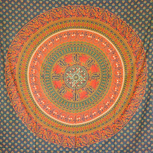 MOMOMUS Tapiz Mandala Étnico - 100% Algodón, Grande, Multiuso - Pareo/Toalla de Playa Gigante - Cubre Sofá/Cama - Telas para Decoración de Pared - 210x230 cm, Verde