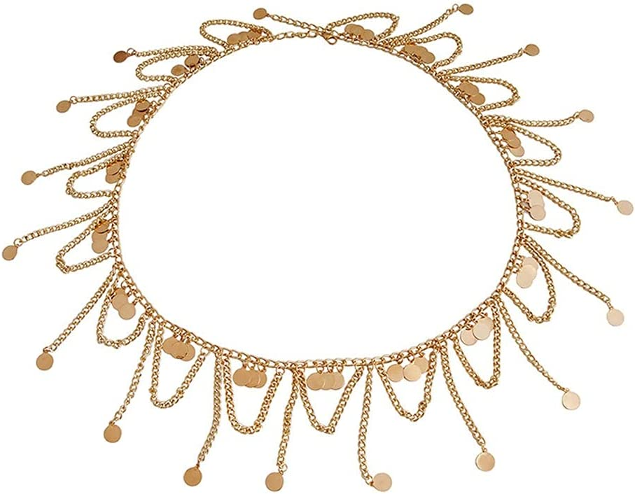 TWDYC Gold Metal Belly Waist Chain Tassel Sequins Charms Body Multilayer Chain Bikini Beach Turkish Dance Belt Jewelry (Color : Gold)