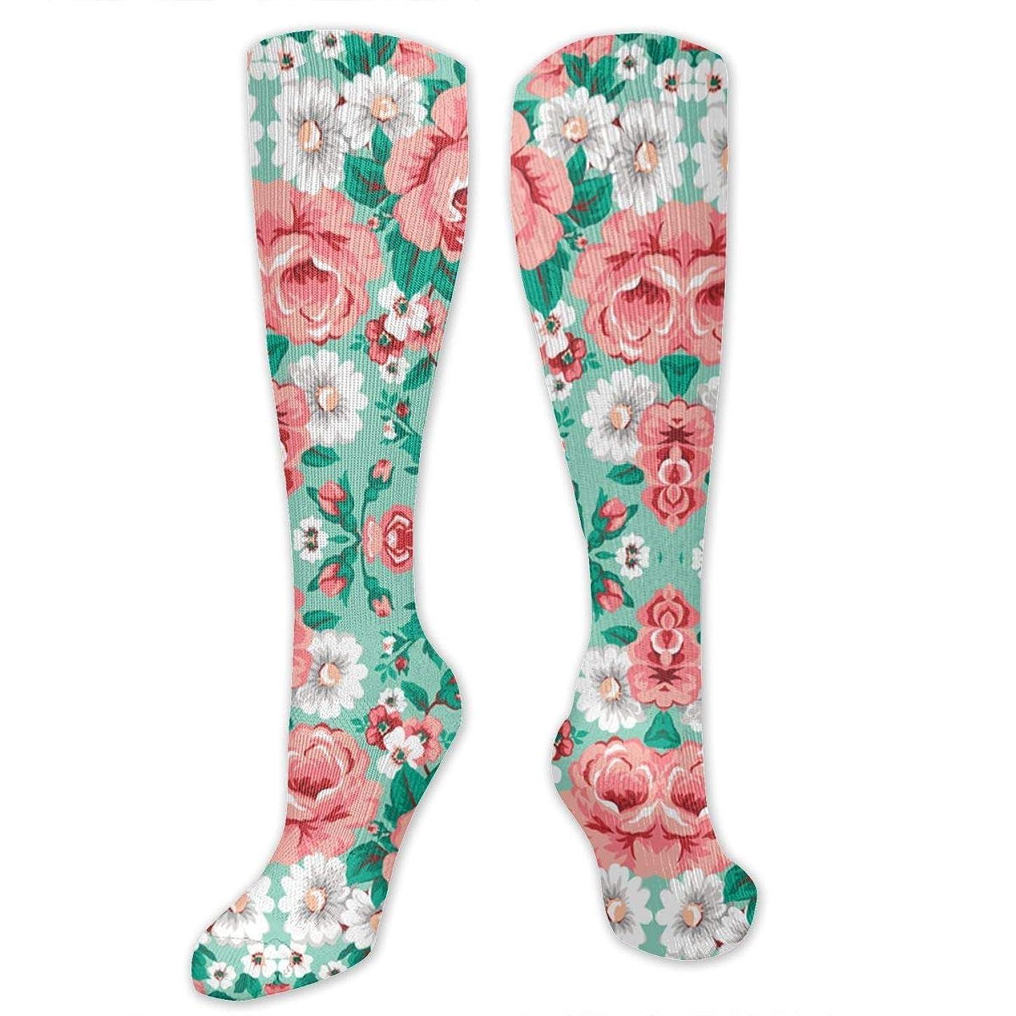 アクセル船上従事した靴下,ストッキング,野生のジョーカー,実際,秋の本質,冬必須,サマーウェア&RBXAA Floral with Roses in Mint Socks Women's Winter Cotton Long Tube Socks Cotton Solid & Patterned Dress Socks