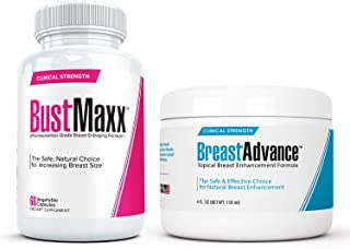 BustMaxx (60 Caps) Bundled with Breast Advance (4 oz.) - Most Effective Natural Breast Growth and Enhancement Combination ...