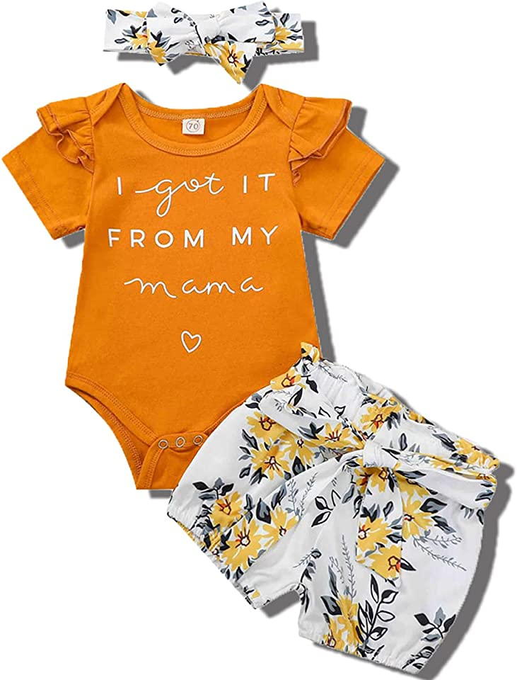Newborn Infant Baby Girl Ruffle Short Sleeve Romper Top Floral Shorts Pants with Bowknot Headband 3pcs Summer Outfit Clothes for 0-18 Months